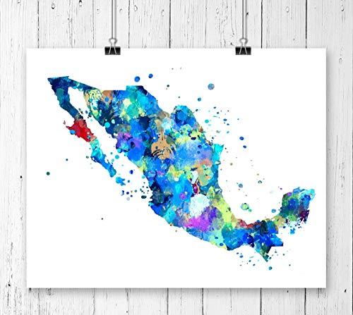 (Mexico Map Art Print, Poster, Wall Art, Contemporary Art, Modern Wall Decor, Office Decor (UNFRAMED))