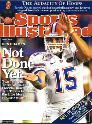 Dwyane Wade Hoops - Sports Illustrated January 19 2009 Tim Tebow/University of Florida on Cover, Barack Obama - The Audacity of Hoops, Pittsburgh Steelers Beat Chargers in Playoffs, Dwyane Wade/Miami Heat, Mike Davis/University of Illinois