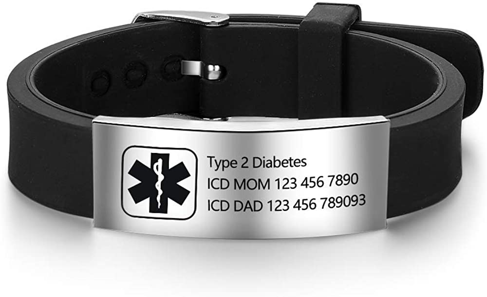 Personalized Bracelet Silicone Medical Bracelets Adjustable Sport Emergency ID Bracelets Free Engraving 9 Inches Waterproof ID Alert Bracelets for Men Women