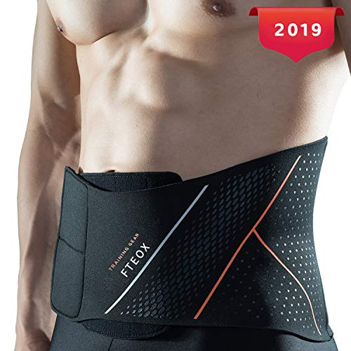 iLeeToo Waist Trimmer Belt,Sweat Belt Weight Loss Adjustable Slimming Belt with Back Support Belly Fat Burner and Lumbar Support for Pain Relief in Gym Workout (Black-New Version, Medium)