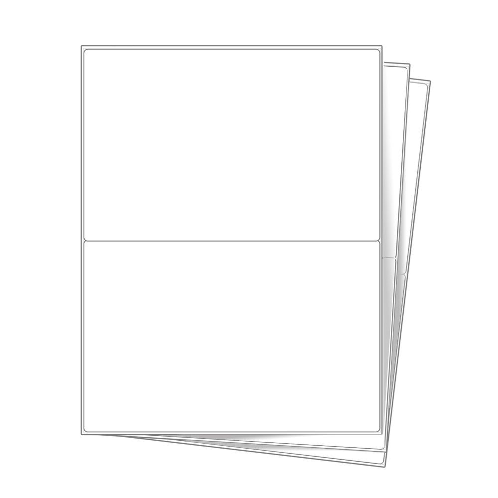 2 EcoSwift Half Sheet Shipping Mailing Labels 8.5 x 5.5 inches Self Adhesive Blank White for eBay PayPal USPS UPS FedEx Laser Inkjet Printers