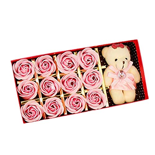 Matoen 12PCS Simulation Romantic Rose Soap Flower Gift Box with Plush Animal Toys Bear Doll Gift Box + Bear Gift Set (P)