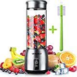 YEHANLY Portable Blender, Stainless Steel Mini Blender for Smoothie, Electric Juicer Cup Personal Size with USB Rechargeable, Six 3D Blades for Shakes Smoothies and Baby Food (BPA Free) (Color: Silver)
