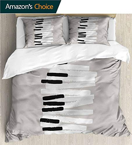 Full Queen Duvet Cover Sets,Box Stitched,Soft,Breathable,Hypoallergenic,Fade Resistant 100% Cotton Reversible 3 Pieces Kids Girls Boys Bedding Sets-Piano Doodle Keyboard Contemporary (80