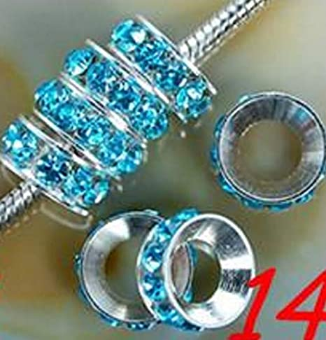 Amazon.com: Calvas 10mm 100pcs/lot White Mixed Multicolor t784 Crystal Rondelle Spacer Beads Lot Loose Round Silver Plated Big Hole European Bead - (Color: 3): Arts, Crafts & Sewing