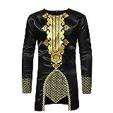 Farjing Shirts for Men, African Dashiki Men's Traditional National Hot Gold Printed Long-Sleeved Shirt(XL,Black