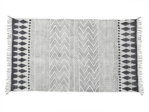 Store Indya Cotton Traditional Carpet in Black and White Tribal Design with Tassels Hand Woven Rug Mat 60 X 36 Inches Living Room Home Decor Gift Ideas For Men & Women