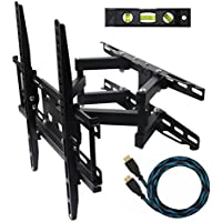 ECO-BEST(TM) 003M Cantilever Tilt Swivel Corner TV Wall Mount Bracket for 20-55 inch LCD, LED and Plasma Flat Screen TVs some up to 55 inch VESA 400x400, Full Motion Articulating Dual Arm Mount Including a 10 HDMI Cable and a 6 3-Axis Magnetic Bubble Level