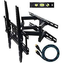 "ECO-BEST(TM) 003M Cantilever Tilt Swivel Corner TV Wall Mount Bracket for 20-55 inch LCD, LED and Plasma Flat Screen TVs some up to 55 inch VESA 400x400, Full Motion Articulating Dual Arm Mount Including a 10' HDMI Cable and a 6"" 3-Axis Magnetic Bubble Level"