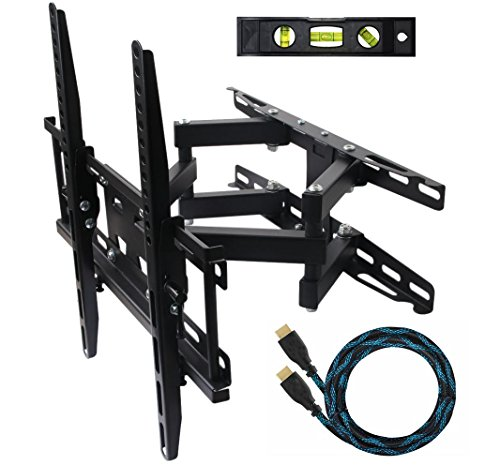 ECO-BEST(TM) 003M Cantilever Tilt Swivel Corner TV Wall Mount Bracket for 20-55 inch LCD, LED and Plasma Flat Screen TVs some up to 55 inch VESA 400x400, Full Motion Articulating Dual Arm Mount Including a 10' HDMI Cable and a 6