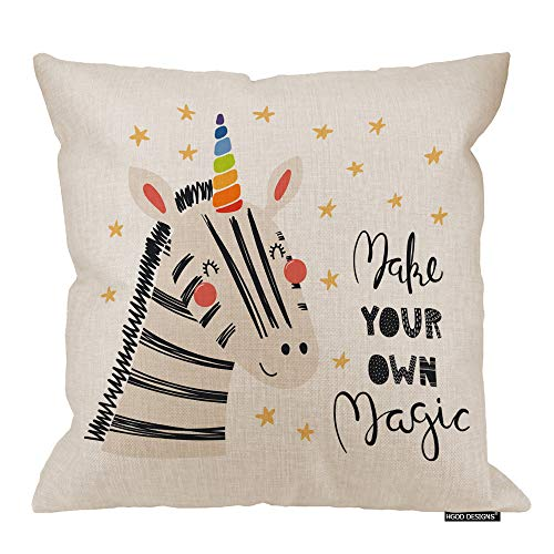 - HGOD DESIGNS Zebra Pillow Cover,Cute Funny Zebra with A Unicorn Horn Make Your Own Magic Cotton Linen Cushion Covers Home Decorative Throw Pillowcases 18x18inch