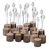 ECHI Wedding Table Card Holder, Real Wooden Base Photo Holder - Suit Photo,Picture,Memo,Card,Business Card Clip (20PCS)