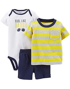 Infant Boys 3 Piece T-Shirt Shorts & Cool Like Daddy Bodysuit NB