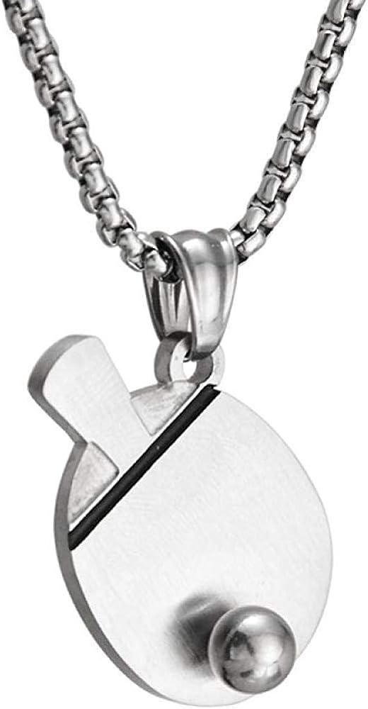 Mens Necklace Pendant Table Tennis Racket Mens Hip Hop Female Titanium Steel Couple Nightclub Bar Jewelry Necklace Pendant