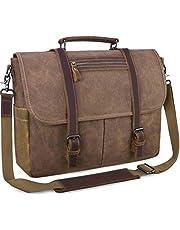 Mens Laptop Messenger Bag Waterproof Computer Leather Satchel Briefcases Vintage Canvas Shoulder Bag Large Work Bag 15.6 inch