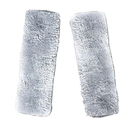 Vosarea Car Soft Plush Seat Belt Shoulder Pads,Artificial Sheepskin Strap Cover for Comfortable DrivingCushion Pads (Grey)