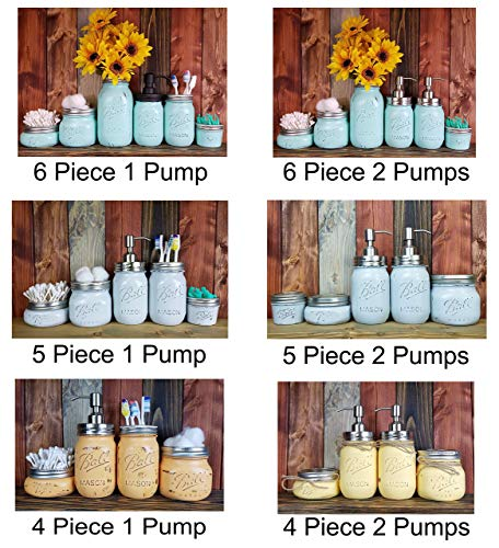 ce Painted Mason Jar Bathroom Set with Soap Dispenser Lid - Bathroom Accessories - Rustic Farmhouse Decor - Country Chic Decor - Available in 20 Colors ()