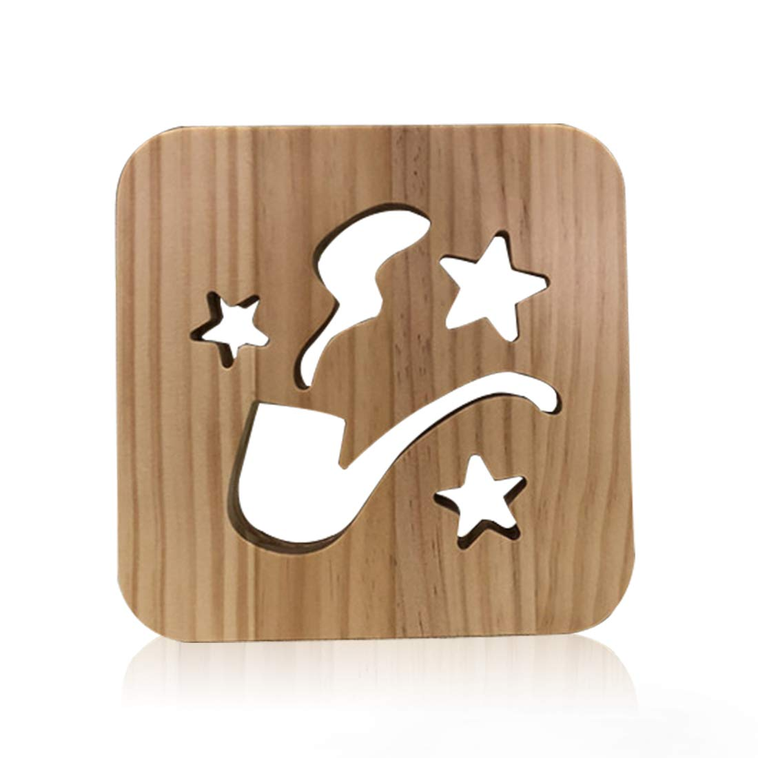 Wooden Smoking Led Lamp for Children, LeKong 3D Wooden Carving Patterns, USB Plug in, Gift for Birthday & Friendship, Fit for Halloween & Christmas Decoration, 2018 New