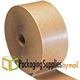 PSBM Brand Brown Kraft Paper 3'' x 600' 160 WAT Non Re-inforced Gum Tape 50 Rolls