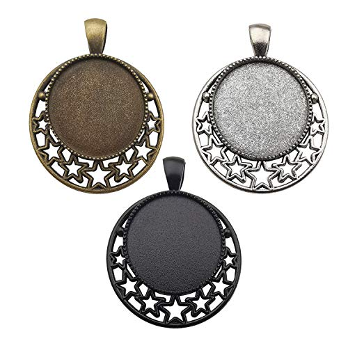 18pcs Mixed 25mm Star Moon Round Blank Bezel Pendant Trays Base Cabochon Settings Trays Pendant Blanks for Jewelry Making DIY Findings M282