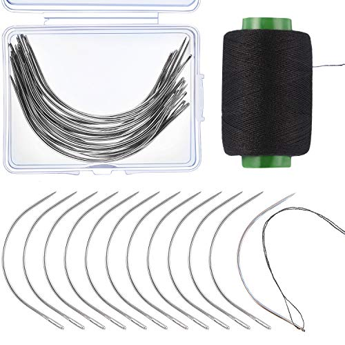Boao 20 Pieces Wig C Curved Needles with 328 Yard Thread for Wig Making