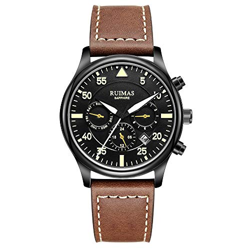 - RUIMAS Men Chronograph Automatic Mechanical Watches Business Sapphire Glass Crystal Luminous Military Wristwatch with Genuine Leather Strap (Seagull)