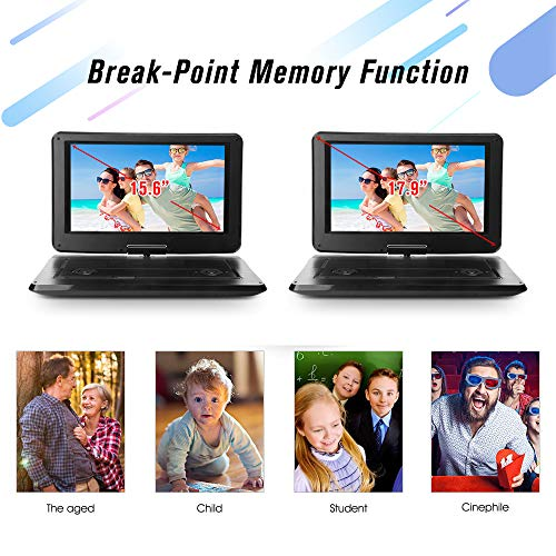 DBPOWER 17.9' Portable DVD Player with 15.6' Large Swivel Screen, Rechargeable Battery, Supports SD...