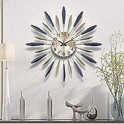 ZYJ Modern Trend Wall Clock Battery Powered Quartz Movement Bedroom Restaurant Mute Wall Clock Stainless Steel (Size : S)
