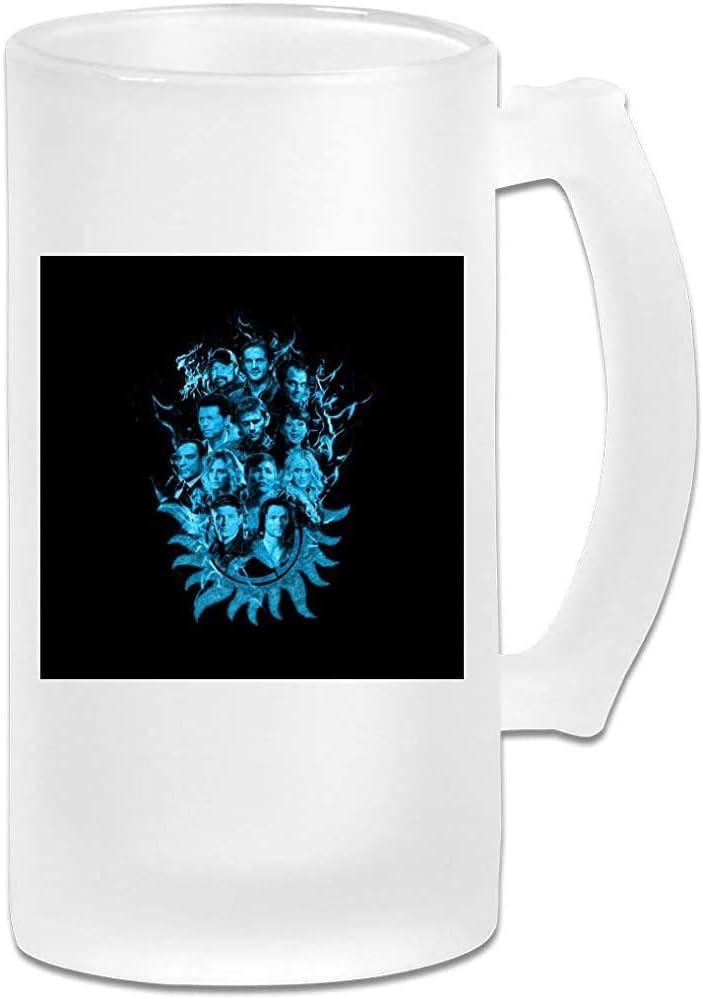 Taza de jarra de cerveza de vidrio esmerilado impresa de 16 oz - Azul sobrenatural Sketch Fire - Taza gráfica