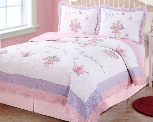 Twin Quilt Fairies - Fairy Princess Garden Twin Quilt with Pillow Sham