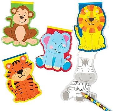 Baker Ross- Cuadernos de Notas de Animales de la Jungla (Pack de 6) para Escribir y Dibujar- Premios para niños: Amazon.es: Juguetes y juegos