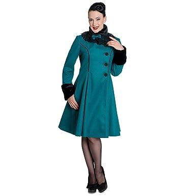 design de qualité 3fe7a d0e85 Hell Bunny Manteau Vintage - Angeline Turquoise (L): Amazon ...