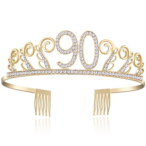 BABEYOND Crystal Birthday Tiara Rhinestone Princess Crown Happy Birthday Crowns Silver Diamante Happy 18/20/21/30/40/50/60/90th Birthday ()