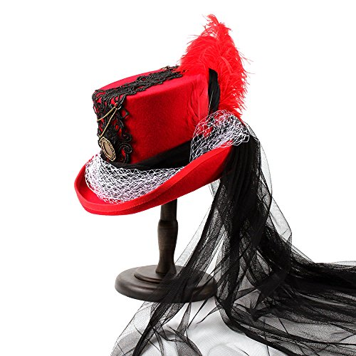 Battle Men Wedding Hats For Women's Victorian Style Steampunk MAD Hatter Bowler Top Hat Classic Red-Black Feather Lace Decor Wide Brim (Color : 1, Size : 57CM) by Battle Men