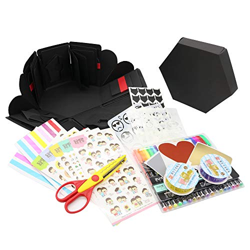 Fuhuy Explosion Box Scrapbook DIY Photo Album Christmas Birthday Anniversary Valentine Wedding Gift with Funny Cards and Big Accessories Package (Black) -