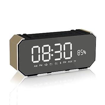Mettime Altavoz de alarma dual digital Audio inalámbrico Bluetooth 4.2 Micrófono incorporado de alta definición Llamada
