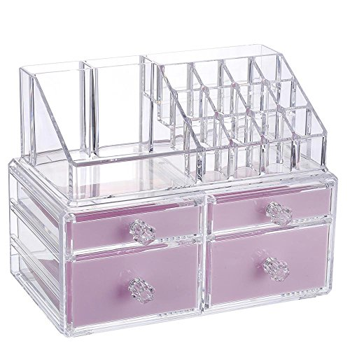 """Younghoo Best Acrylic Cosmetic Makeup Organizer 2 Piece Box with Multi Compartments for Organization & Storage Jewelry Display & Drawers Clear Display Rack Holder-9 3/8"""" x 5 ½"""" x 7 3/8"""" by Younghoo"""