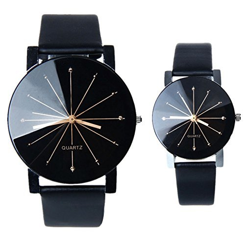 BESSKY 1 Pair of Black Dial Clock Leather Quartz Wrist Watch for Lovers