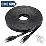xbox 360 extras - Cat 6 Ethernet Cable 50 ft Black with Cable Clips - Flat Internet Network Cable - Computer Cable With Snagless Rj45 Connectors – 50 feet Black (15 Meters)