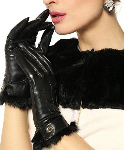 ELMA Supple Nappa Leather Gloves Rabbit Fur Cuff Cashmere Lining Gold Plated Logo (M, (Genuine Rabbit Fur Cuffs)