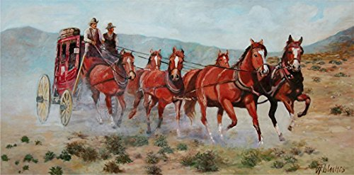 ((SOLD) Across the West - Western painting of the stagecoaches of southwest America by Andre Dluhos.)