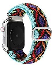 Klockarmband i nylon för Apple watch band 44 mm 40 mm 38 mm 42 mm justerbar elastisk nylon för iwatch serie 3 4 5 6 SE armband för 44 mm A3