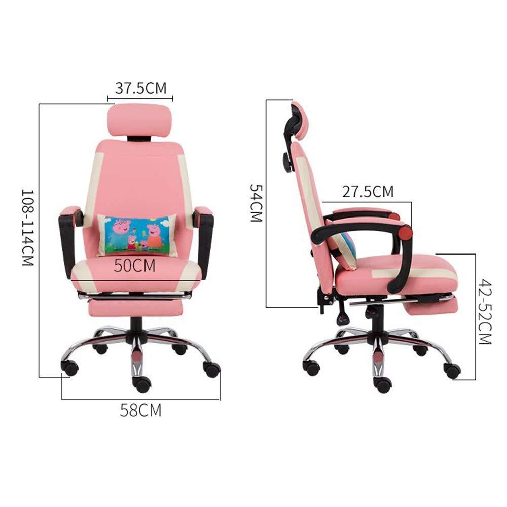 JIEER-C stol svängbar stol TV-spelstol, multifunktion vilande spelstol med rörlig korsryggskudde ergonomi kontorsstol för kontor student sovsal, svart grön Rosa