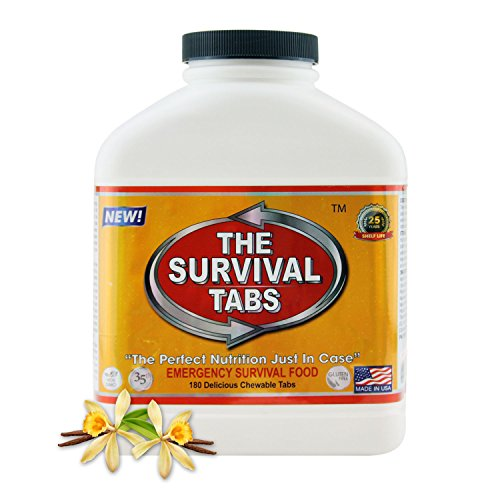 Survival Tabs 15-Day 180 Tabs Emergency Food Ration Survival MREs Food Replacement for Outdoor Activities Disaster Preparedness Gluten Free and Non-GMO 25 Years Shelf Life Long Term - Vanilla Flavor