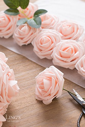 Ling's moment Artificial Flowers Blush Roses 50pcs Real Looking Fake Roses w/Stem for DIY Wedding Bouquets Centerpieces Bridal Shower Party Home Decorations