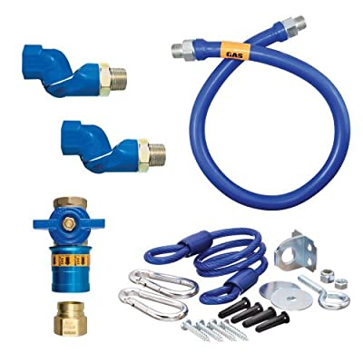 "Dormont 1675KITCF2S24 Deluxe Safety Quik® 24"" Gas Connector Kit with Two Swivels and Restraining Cable - 3/4"" Diameter"