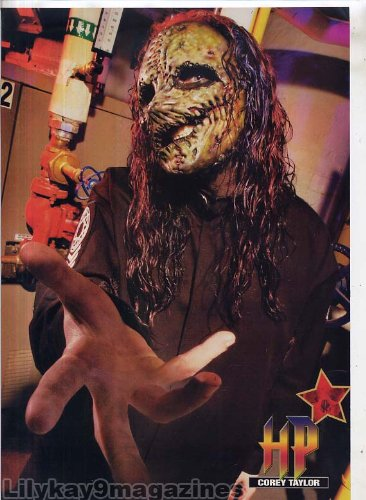 COREY TAYLOR MINI POSTER Pin-up Page SLIPKNOT Magazine Clipping WEARING HIS CORPSE MASK 2006 C