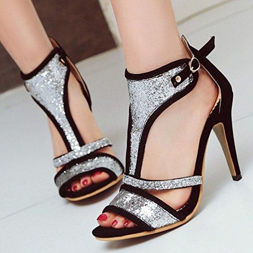 TAOFFEN Mujer Peep Toe Botin Sandalias Tacon De Aguja Tacon Alto Verano Zapatos Negro