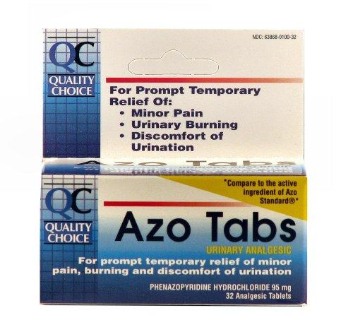 Qualité Choice azoïques onglets urinaires 95mg analgésiques. Tablet 32 comptes, boîtes (Pack de 4)