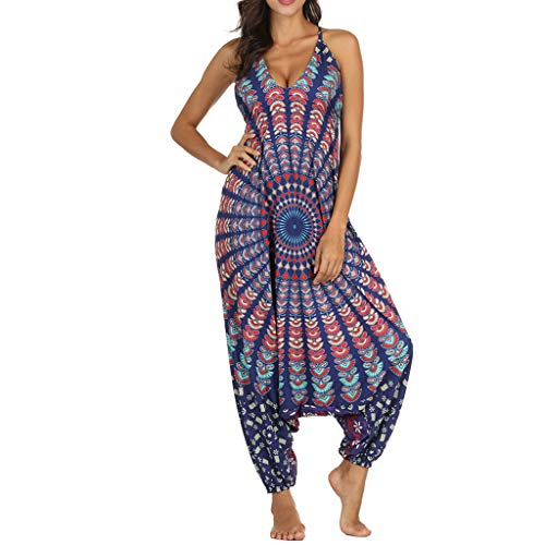 (TOTOD Jumpsuits Women V-Neck Loose Playsuit Gym Yoga Gypsy Jogging Harem Pants Baggy Palazzo Trousers Dark Blue)